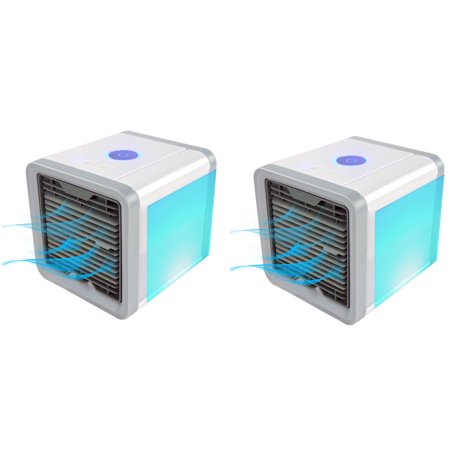 2 Personal Portable Air Conditioner Evaporative Cooler - Quickly Cools Any Space, 4 IN 1- Mini AC Space Cooler, Air Purifier, Humidifier & Quiet Fan For Bedroom, Desktop & Office - 7 Color LED (Best Personal Ac Unit)
