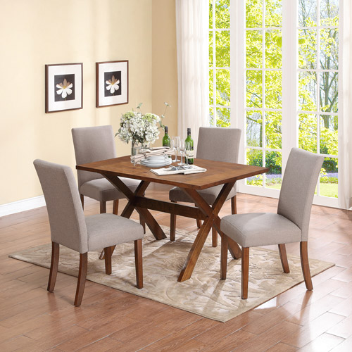 dorel living trestle dining table, dark pine - walmart