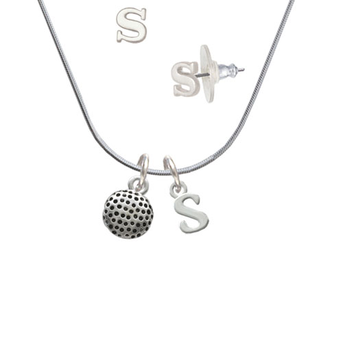 Golf Ball S Initial Charm Necklace and Stud Earrings Jewelry Set by Delight and Co.