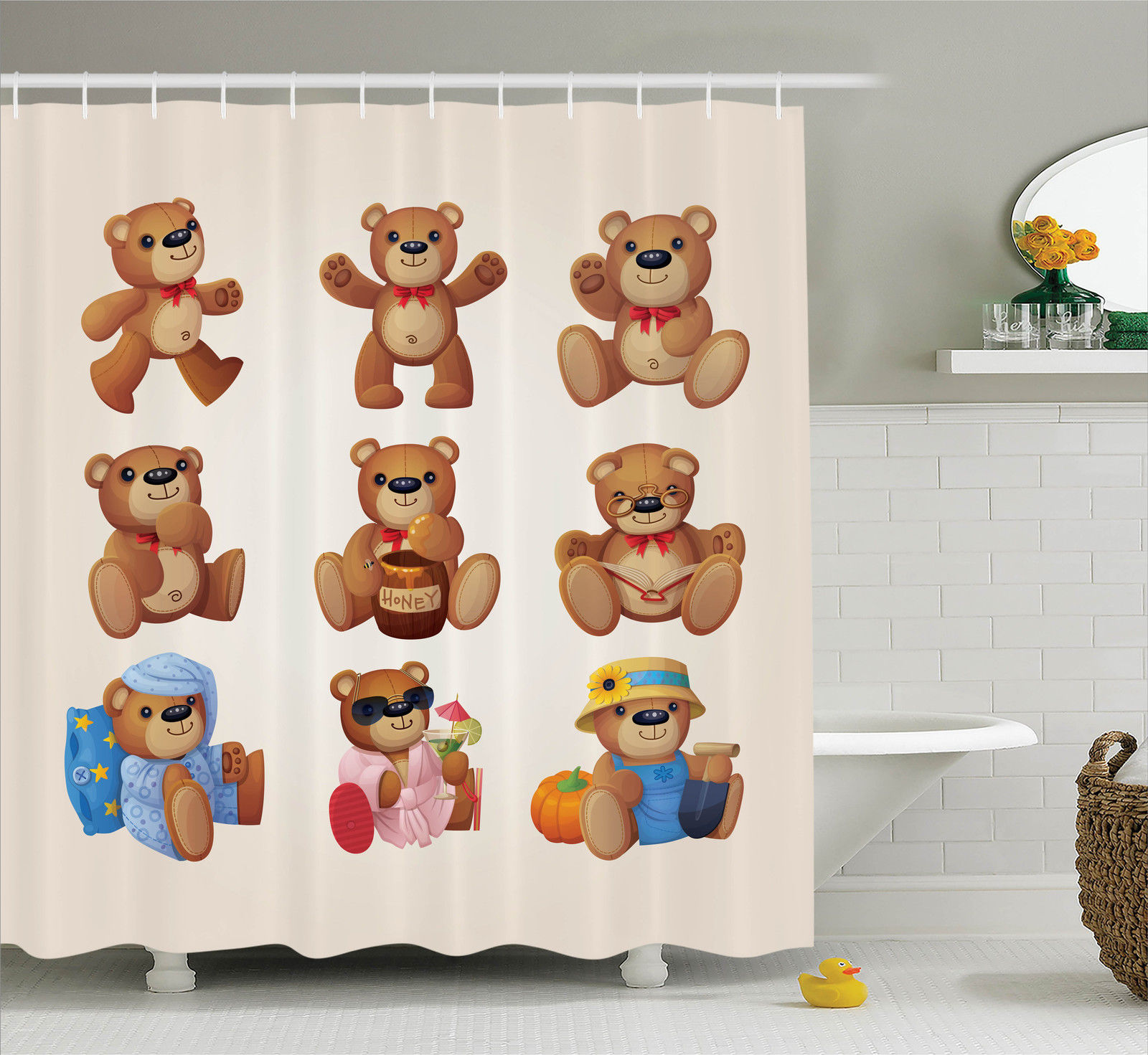 Cartoon Decor Shower Curtain Set, Set Of Cute Happy Teddy Bears With Funny  Different Faces