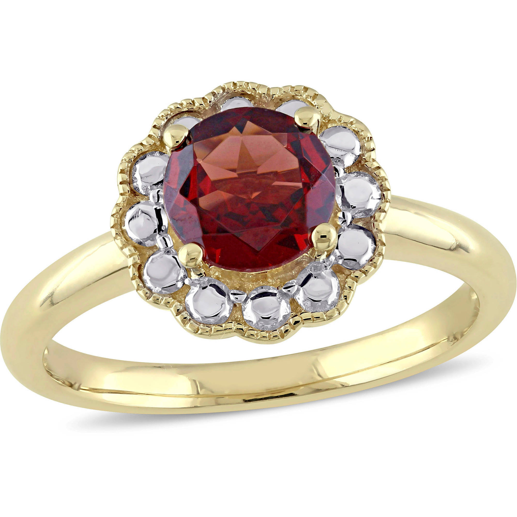 Tangelo 1-1 3 Carat T.G.W. Garnet 10kt Yellow Gold Flower Cocktail Ring by Tangelo