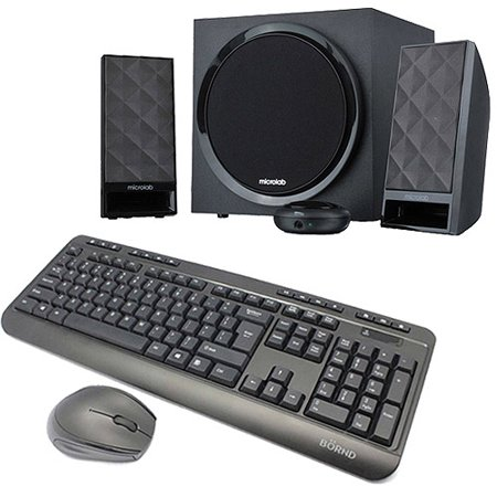 Wireless Keyboard and Mouse Combo with 40W 2.1 Channel Deluxe Speakers
