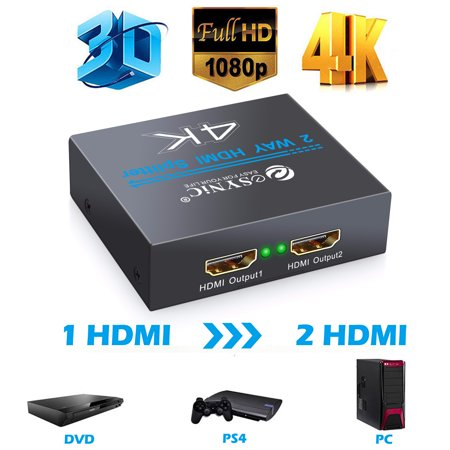 ESYNIC 2 Way HDMI Splitter Converter Adapter Box 1 In 2 Out 4Kx2K 1x2 HDMI Amplifier Adapter HDMI 2 Port Splitter Switch Box Ultra HD 4K Support Full 1080P 3D for PS4 PS3 Apple TV Xbox Blu-ray