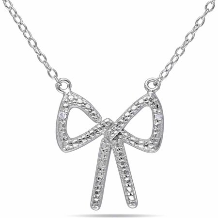 Diamond-Accent Sterling Silver Bow