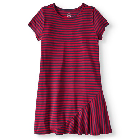 Wonder Nation Short Sleeve Asymmetrical Ruffle Hem Dress (Little Girls and Big Girls)