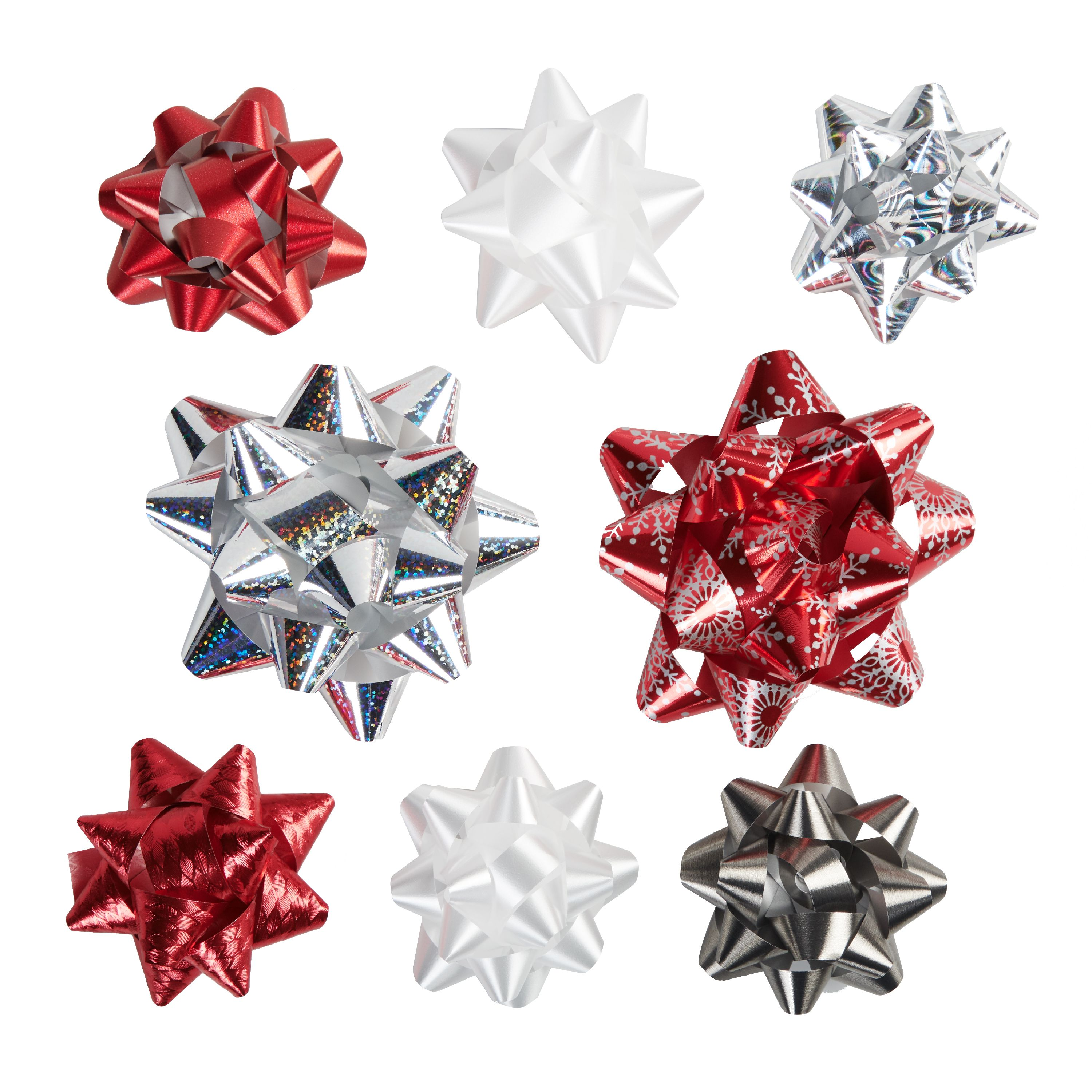 Holiday Time Assorted Red, White, Silver Gift Bows, 20 count