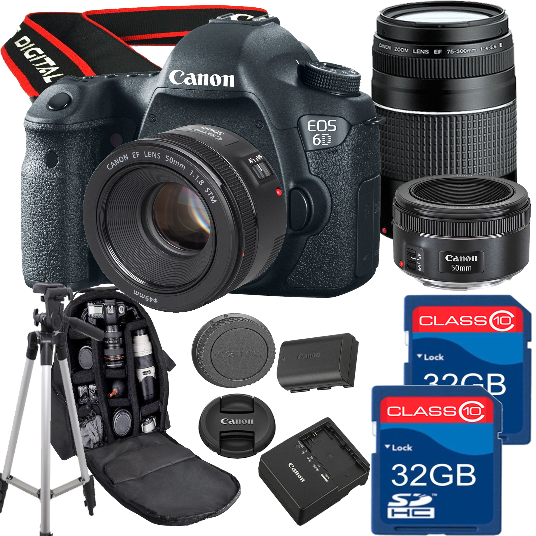 Canon EOS 6D Bundle With Canon 50mm 1.8 STM Prime Lens +  Canon 75-300mm III Telephoto +  2 32GB SD Cards + Backapack + Tripod