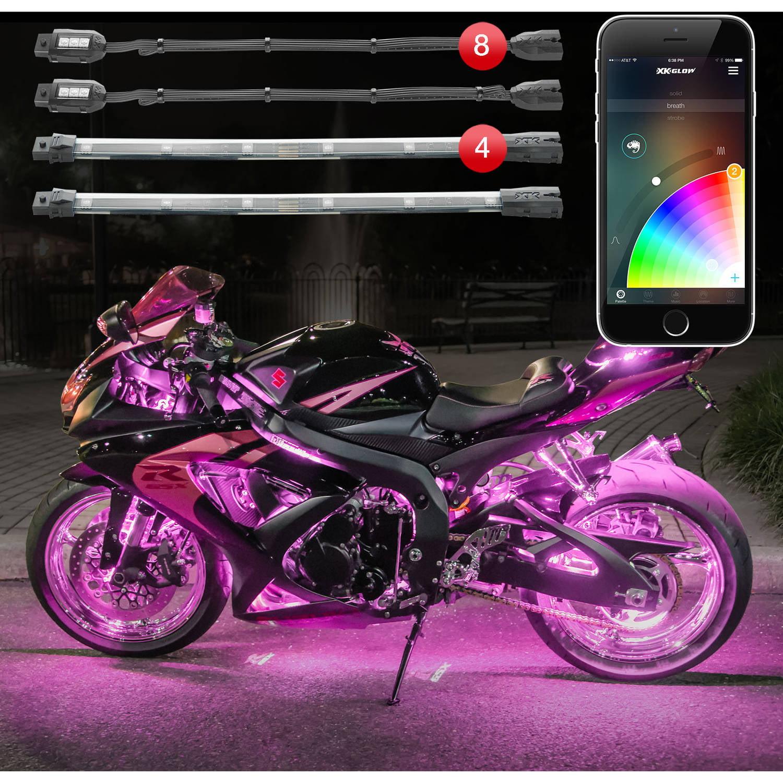 Xkchrome Control 16 Million Color 8 Pod 4 Strip Motorcycle Led Accent Standard Kit