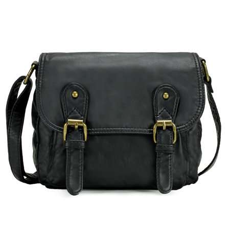 Scarleton Double Belt Strap Flap Crossbody Bag