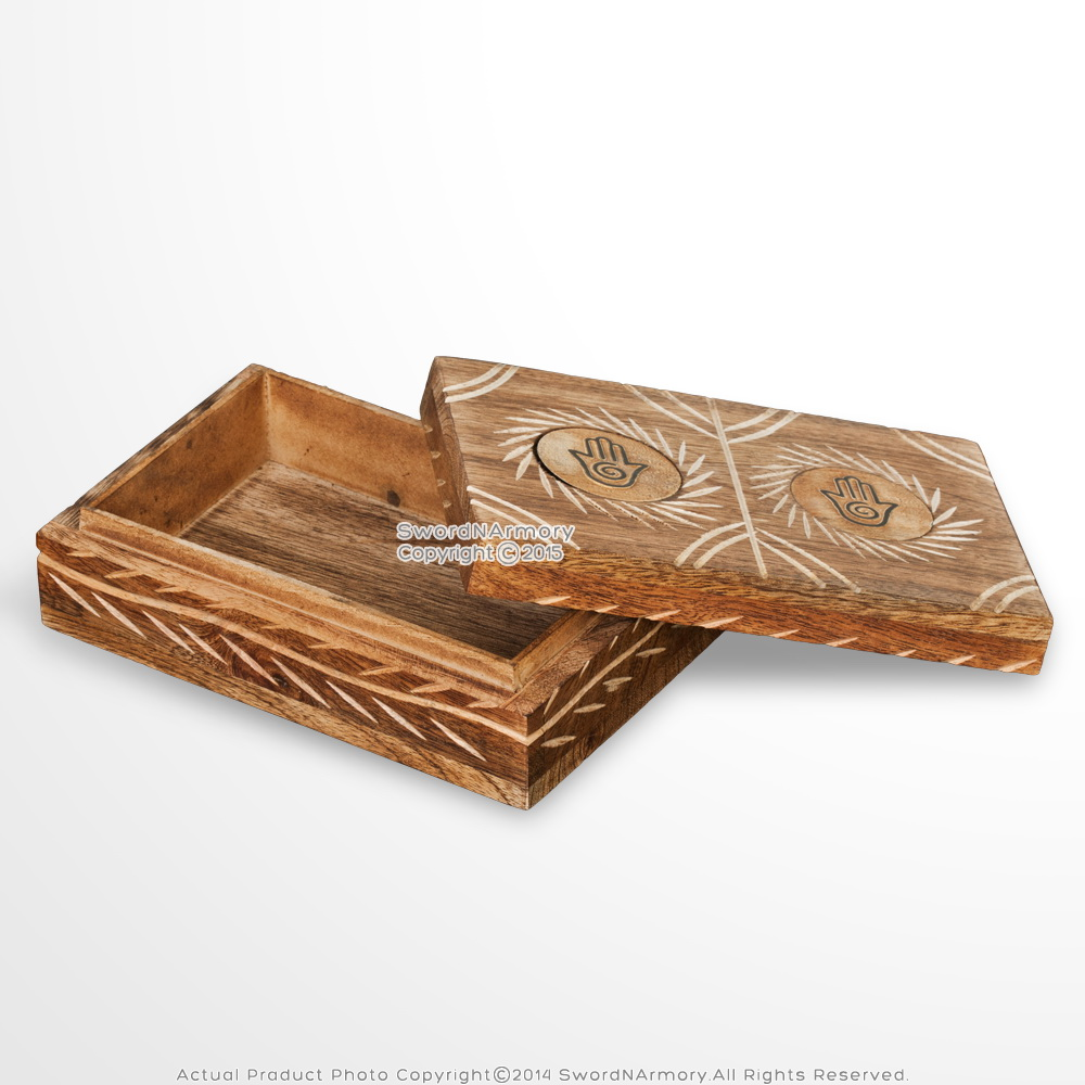 Handmade Decorative Wooden Craved Jewelry Trinket Box Natural Stained Finish