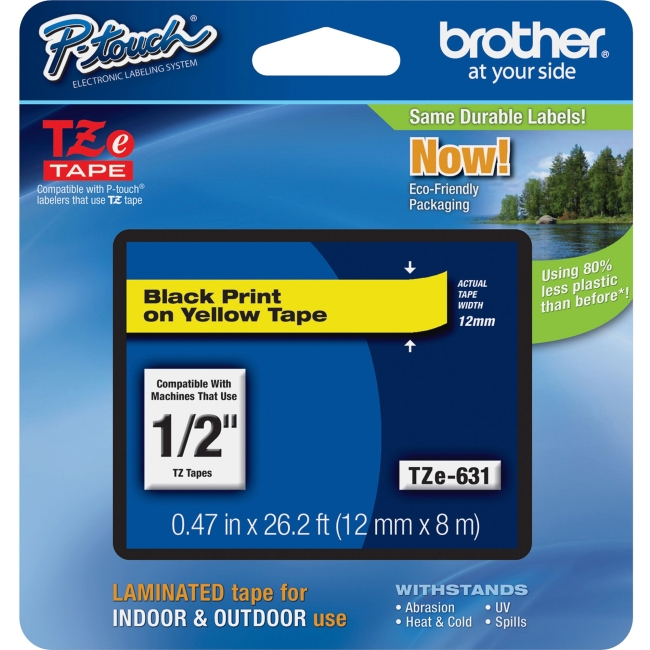 """Brother P-touch TZE631 Label Tape - 0.47"""" Width x 26.25 ft Length - Rectangle - Yellow - 1 Each"""