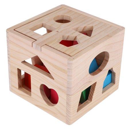 Ccdes Jouet éducatif géométrique, blocs de construction en bois, jeu intellectuel pour bébé de 13 trous de construction de blocs intellectuels - image 4 de 8