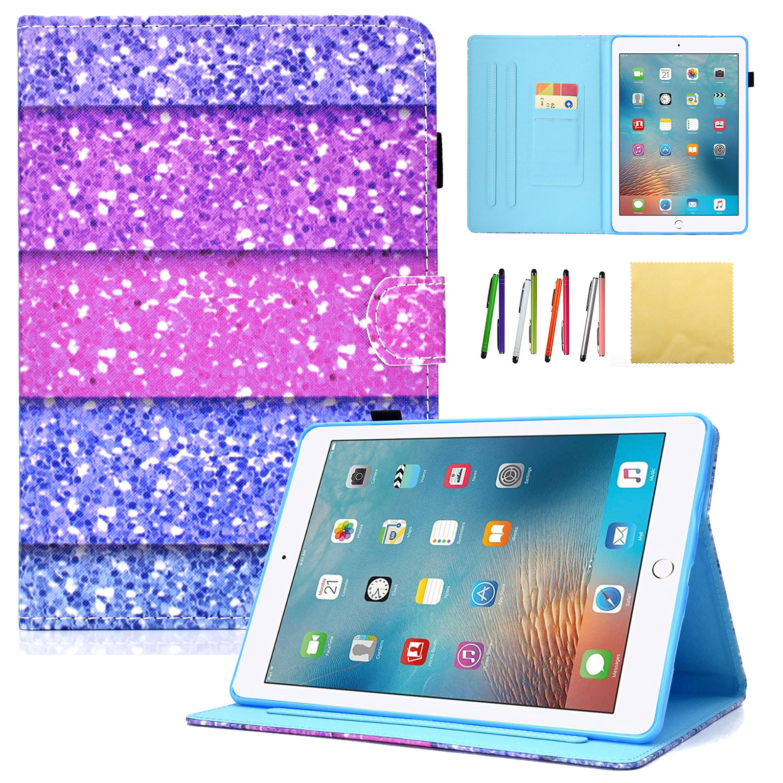 iPad Pro 10.5 2017 Case, Goodest Colorful PU Leather Stand Wallet Case and Covers with Auto Sleep/Wake Function & Pencil Holder For Apple iPad Pro 10.5 2017 Model, Colorful Sand