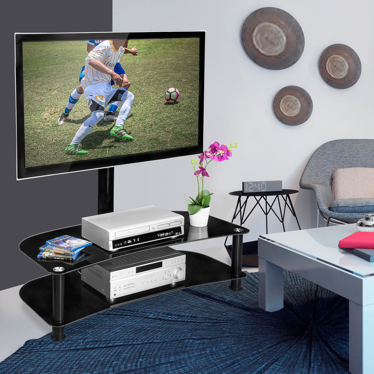 Mount-It! TV Entertainment Center with A/V Shelving, TV S...