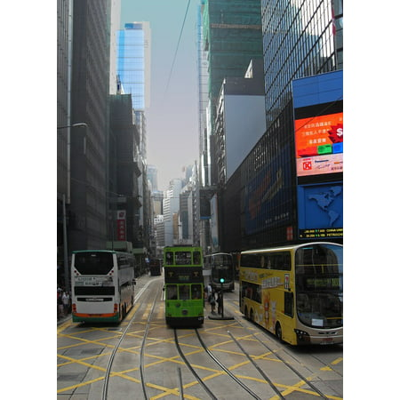 LAMINATED POSTER Big City Bus Urban Tram City Hong Kong Skyscraper Poster Print 24 x 36 ()