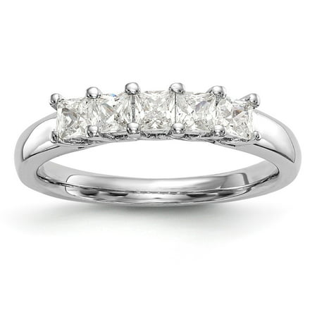 14K White Gold 5-Stone Diamond Wedding Band Ring 1.175 cttw Fine Jewelry Valentine's Day Gifts