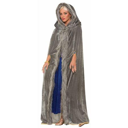 Medieval Fantasy Grey W/Faux Fur Trim Adult Costume Cape