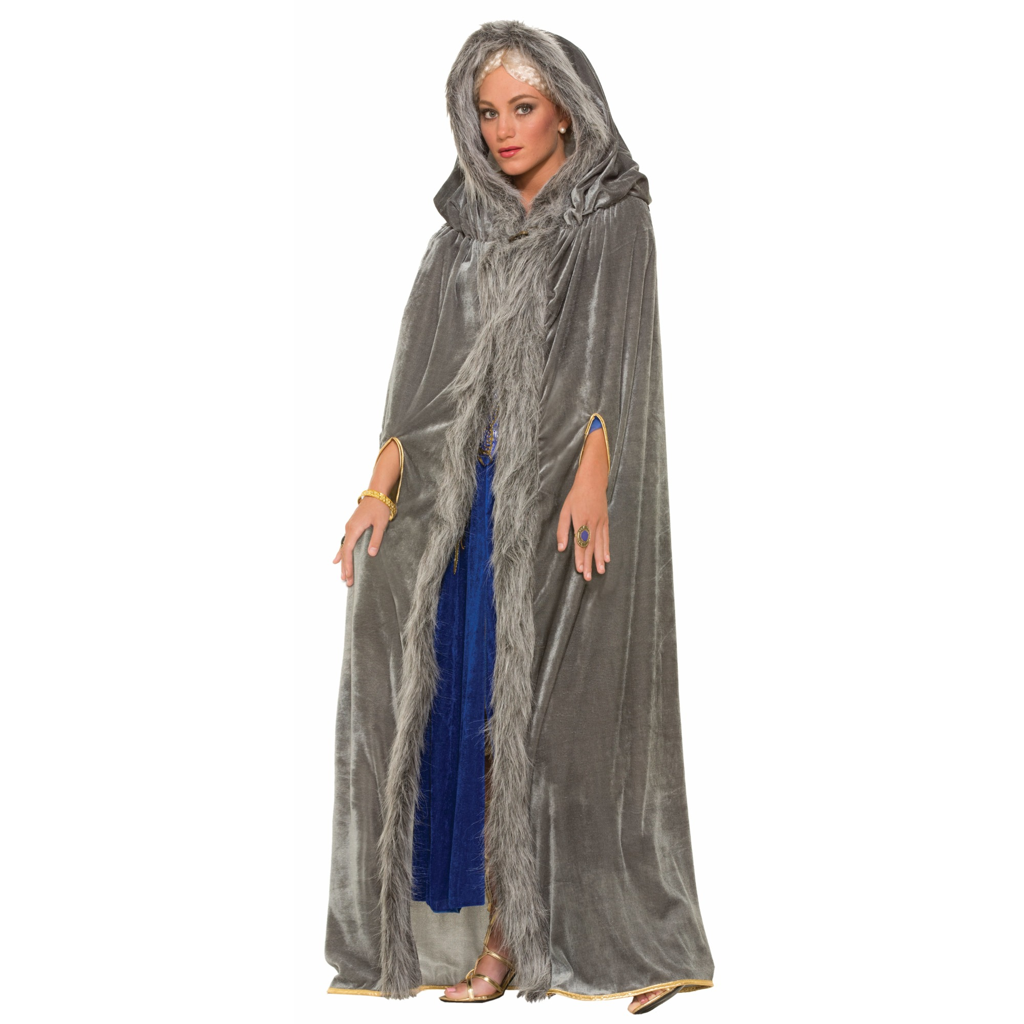 Medieval Fantasy Grey W/Faux Fur Trim Adult Costume Cape