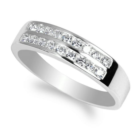 White Gold Plated Double Channel Round CZ Wedding Band Ring Size 4-10