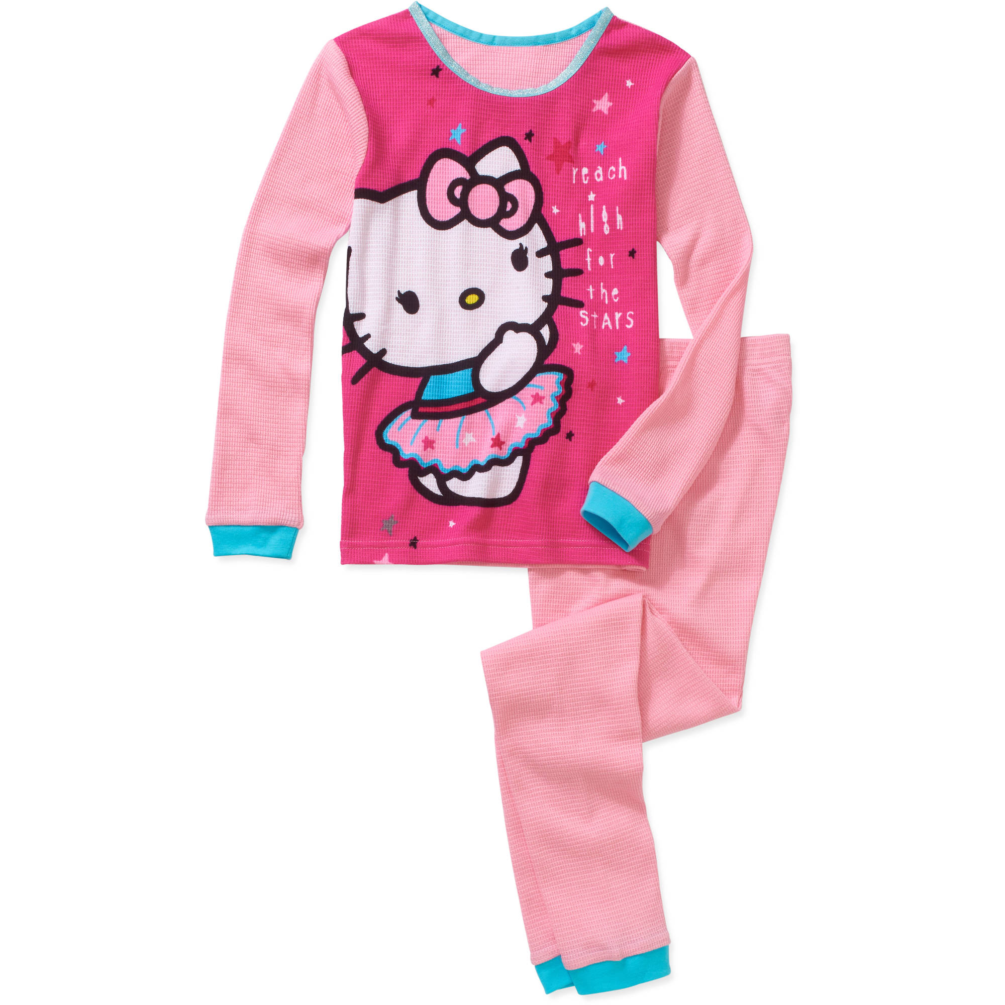 Hello Kitty Girls' Licensed Cotton Thermal 2 Piece Set