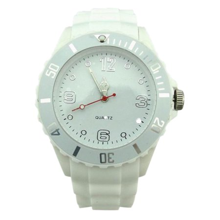 Fashionable Plastic Lovers Jelly Watch Quartz Wrist Watch Ornament Gift white (Lovers Quartz Wrist Watch)