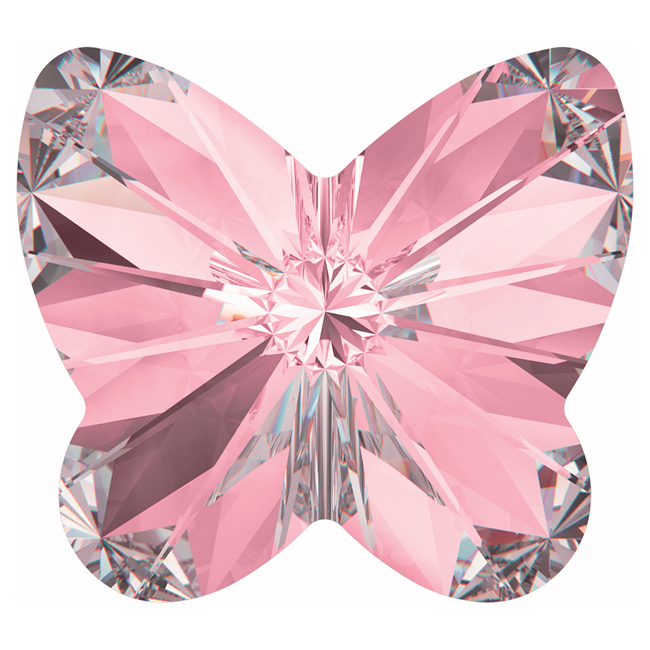 Swarovski Crystal, #4748 Rivoli Butterfly Rhinestones 10mm, 4 Pieces, Light Rose F