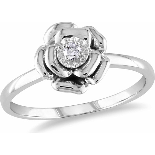 Miabella Diamond Accent Sterling Silver Flower Ring