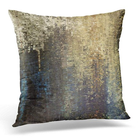 CMFUN Abstract Colored Geometric Pattern Pixel Tiled in Blue Beige Black Old Gold Brown and Grey Colors Pillow Case Cushion Cover 18x18 -