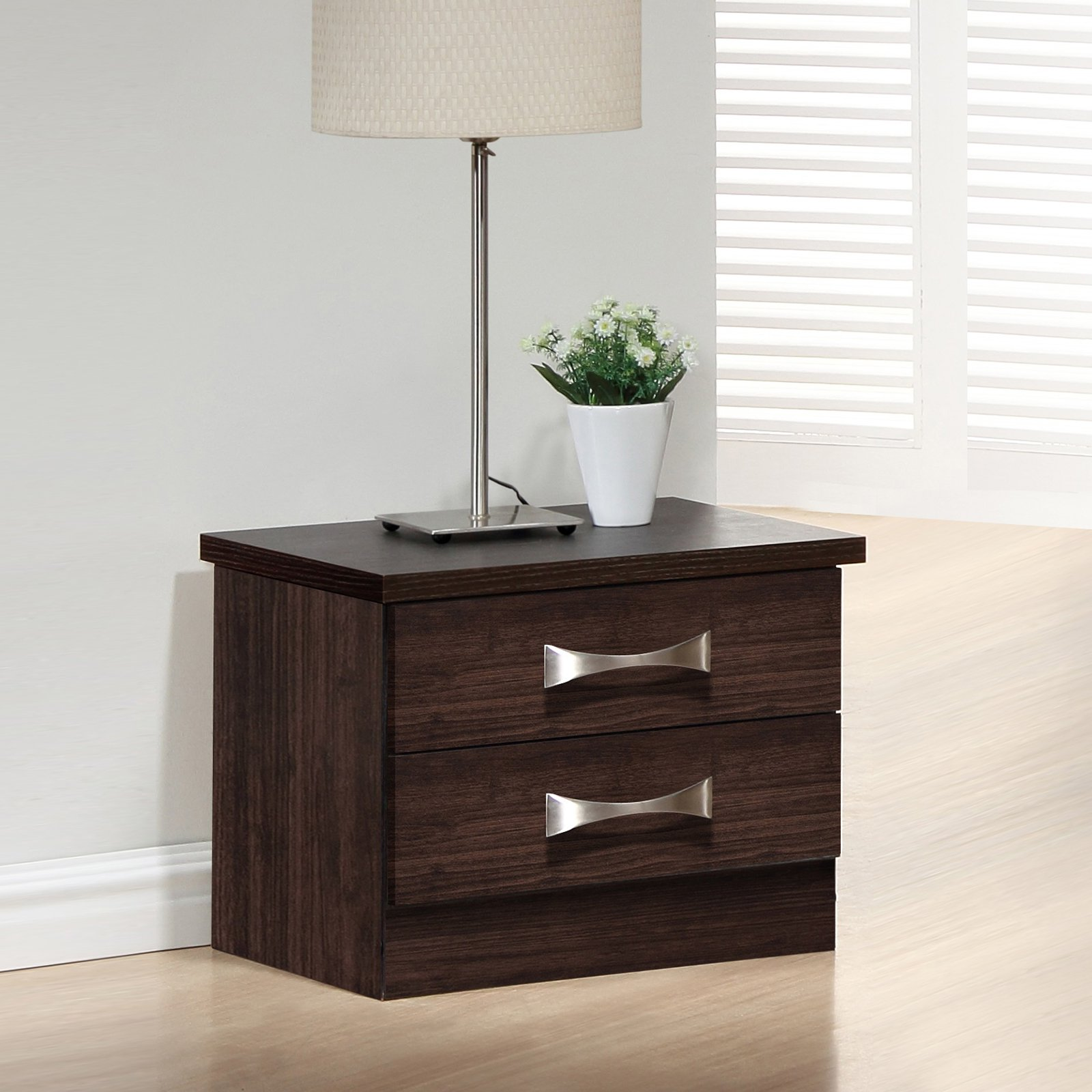 Baxton Studio Colburn Modern and Contemporary 2-Drawer Dark Brown Finish Wood Storage Nightstand Bedside Table by Overstock