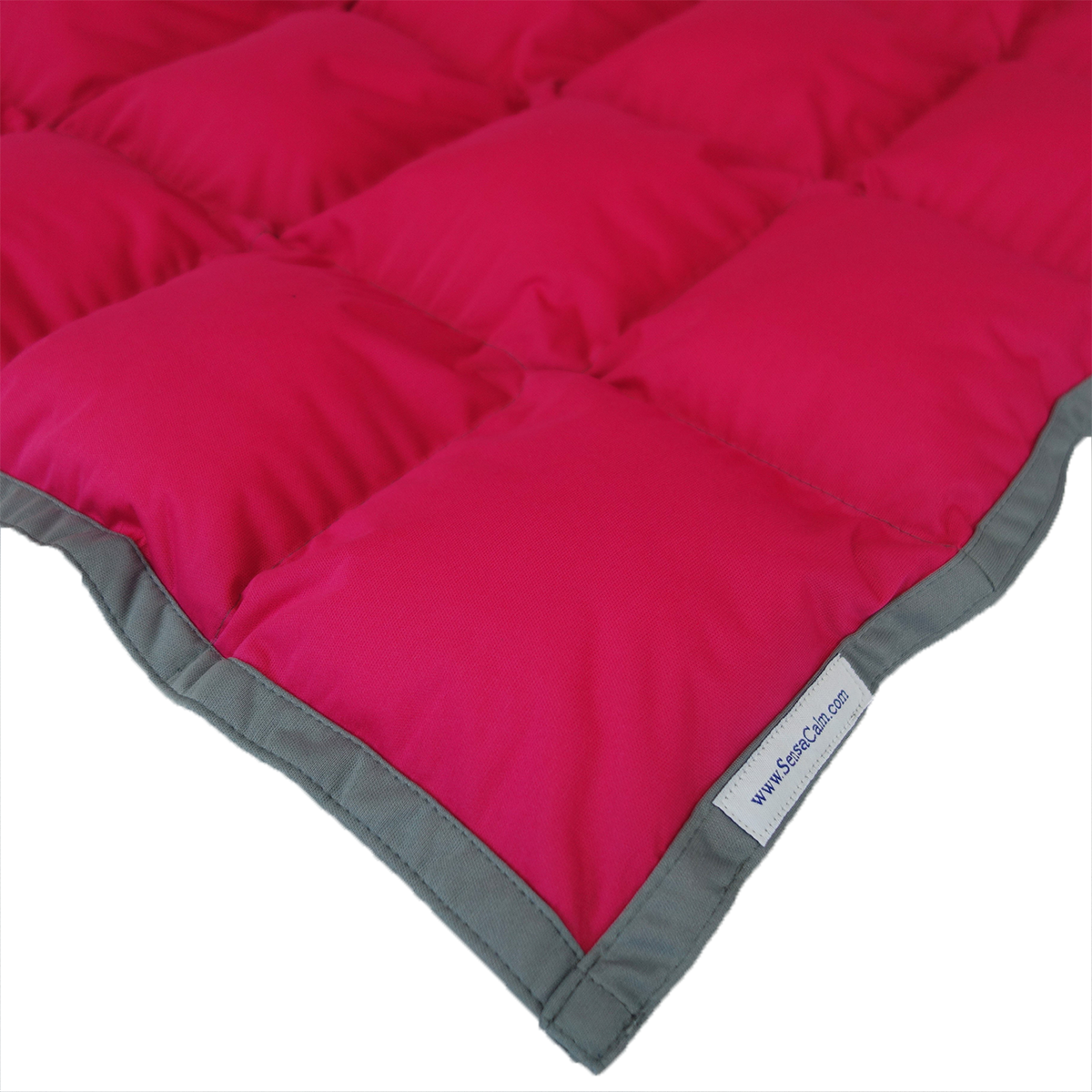 SensaCalm Raspberry w/ Slate Gray - Adult 12 lb Weighted Waterproof Blanket