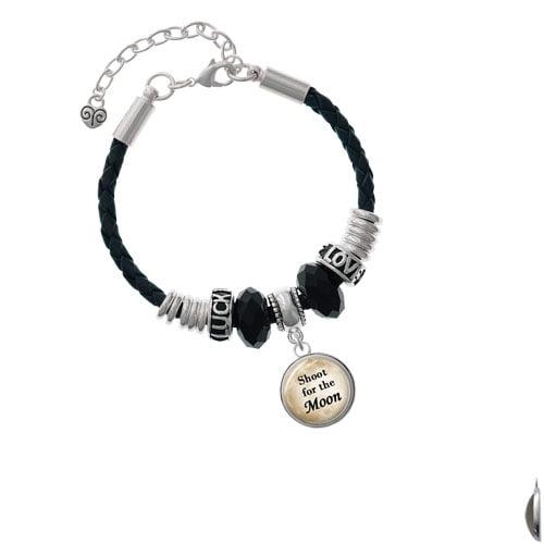 Domed Shoot for the Moon Love Luck Leather Bracelet