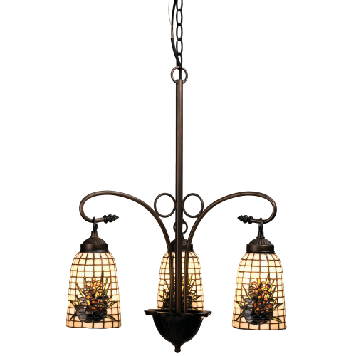 "Meyda Tiffany 73989 Pine Barons 3 Light 20-1/2"" Wide Chandelier with Tiffany Glass Shade"