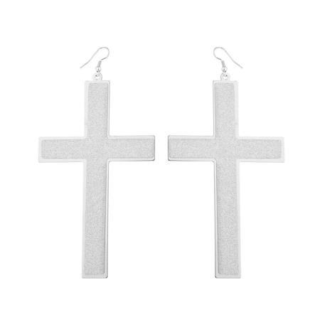 Lux Accessories Silvertone Sticker Glitter Cross Religious Dangle Earrings