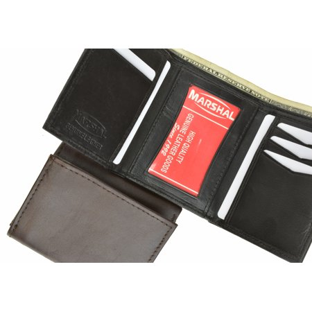 Black Lamb Leather - Lamb Leather Simple ID Trifold Wallet 5155 (C) Black