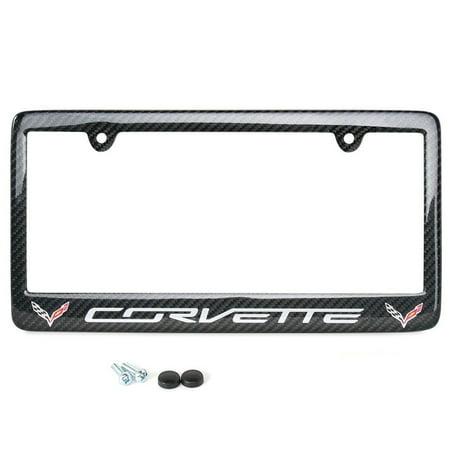 C7 Lite Gray Corvette script with w/Double Logo License Plate Frame - Carbon Fiber : C7 (Stingray Frame)
