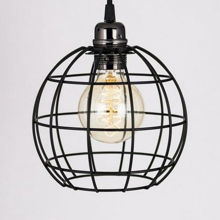Classic Retro Pearl Black Pendant Light Cord PLUS Sphere Bulb Cage Combo - Classico Pendant Lighting