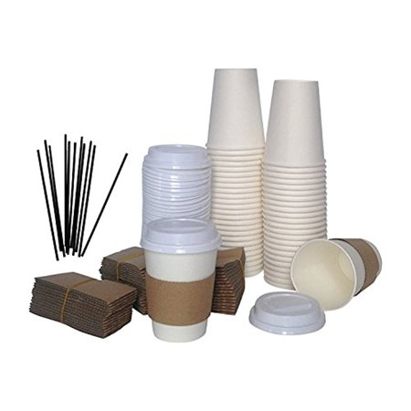 Paper Coffee Cups, Travel Lids, Sleeves & Stirrers, 12oz White Hot or Cold Disposable To Go Travel Mug & Cover for Tea Coco Chocolate Office Party Pack in Bulk by eDayDeal HomeGoods (100, 12 Oz)