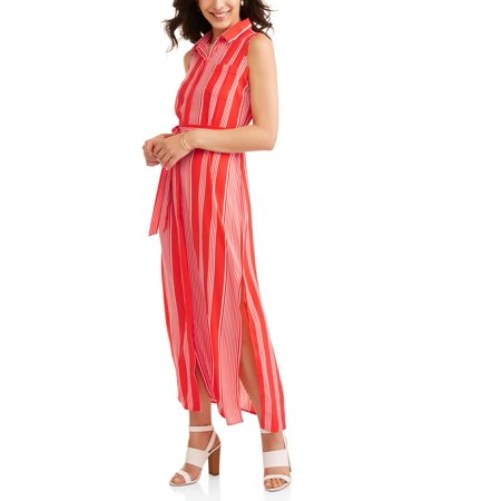 (Women's Striped Maxi Shirt Dress)