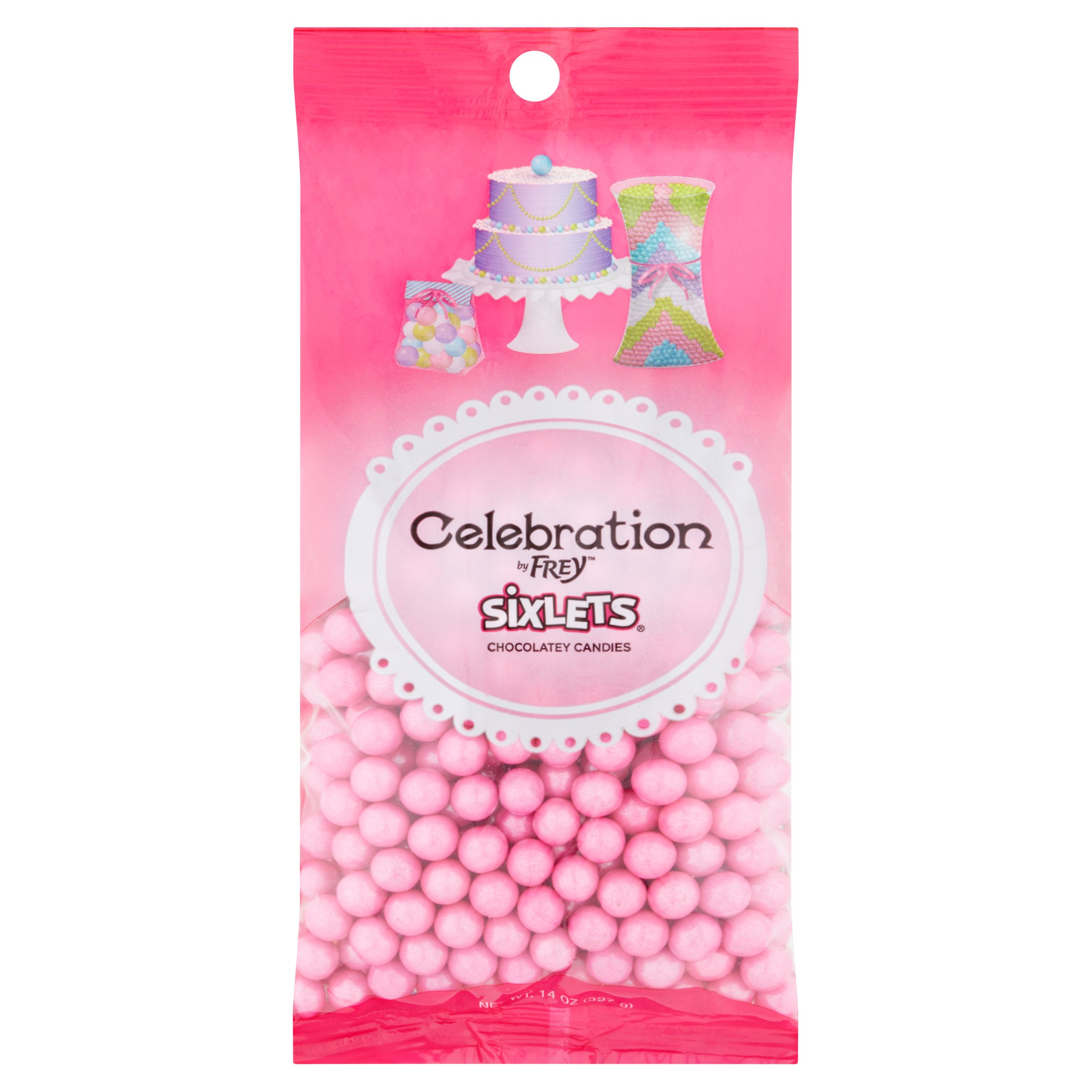 Celebration by SweetWorks Sixlets Chocolate Flavored Pink Candy, 14 oz by SweetWorks Confections, LLC, A Chocolat Frey Company.