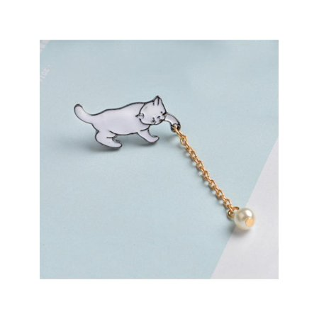 Lavaport Women Cute Cartoon Cat Enamel Venetian Pearl Brooch Pins