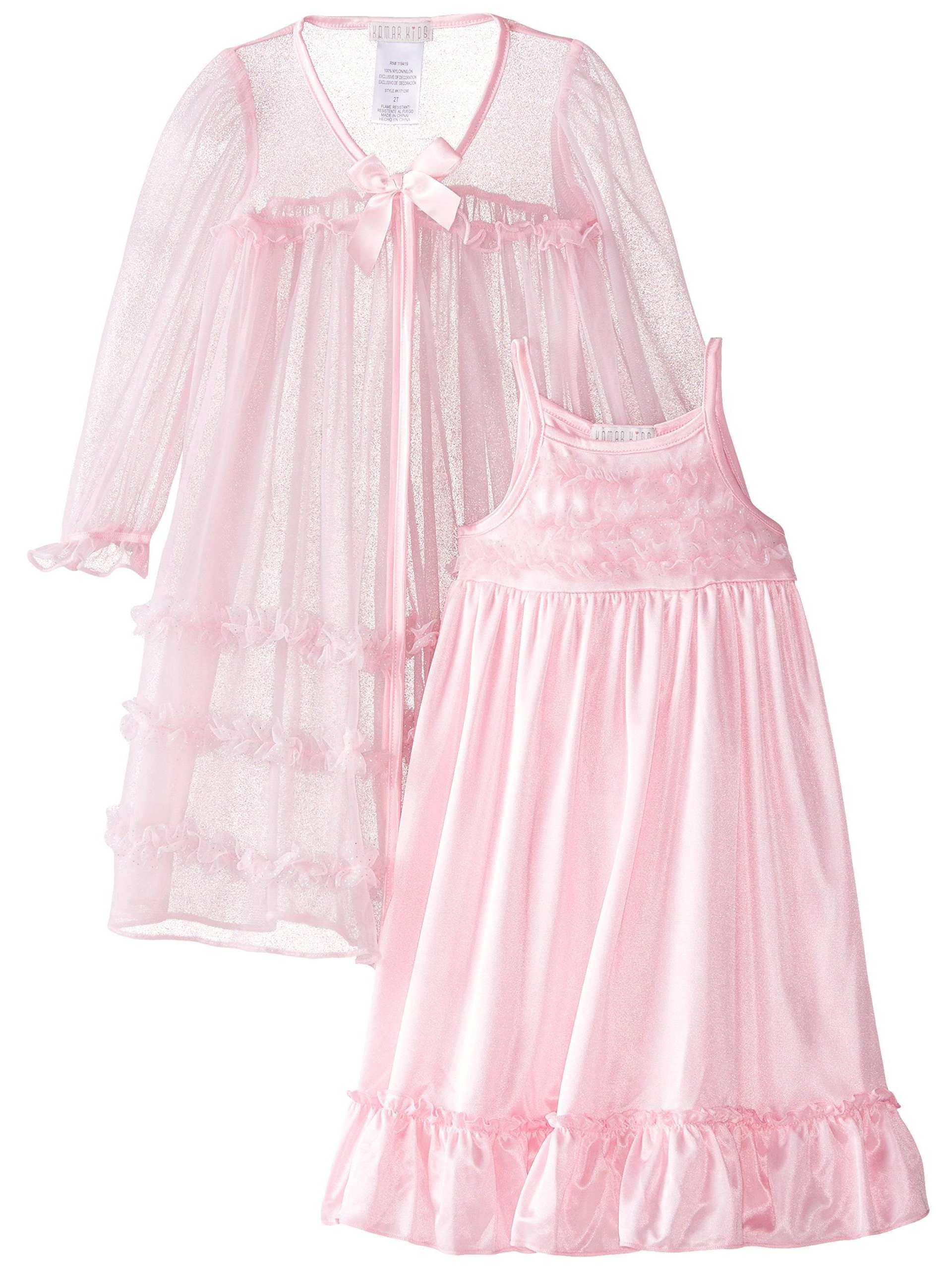 Little Girls' Pink or Red 2 Piece Peignoir Gown Set, Nightgown Pajama