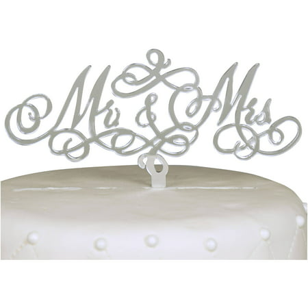Unik Occasions Mr. and Mrs. Acrylic Cake Topper, Silver - Mrs Cake
