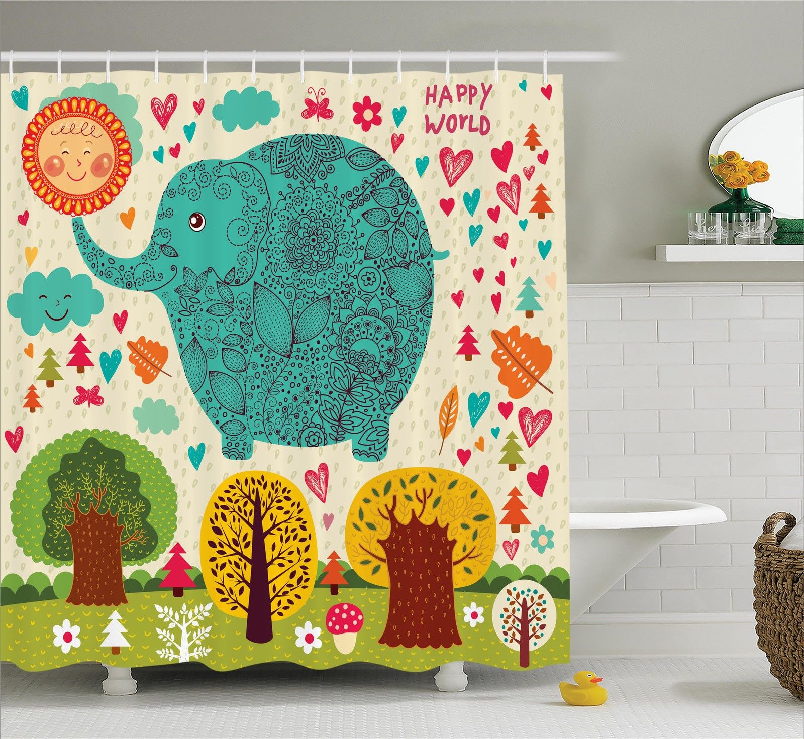 Elephants Decor  Illustration With Elephant Happy World Trees Leaves Hearts Love Children Art, Bathroom Accessories, 69W X 84L Inches Extra Long, By Ambesonne