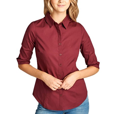 79c429d33581f8 KOGMO - KOGMO Womens Classic Solid 3/4 Sleeve Button Down Blouse Dress Shirt  - Walmart.com