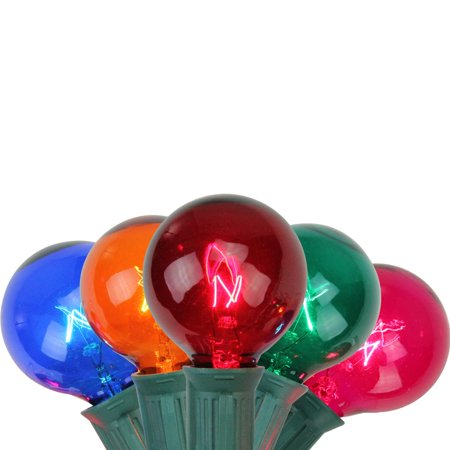 Set of 10 Multi Colored G40 Globe Patio Party Christmas Lights - Green Wire