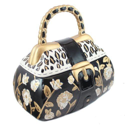 Gold Fl Handbag Cookie Jar