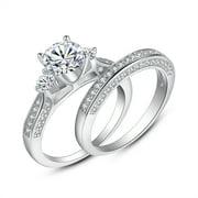 Devuggo 1 89 Carat Tcw 3 Stones Round Brilliant Cut Cz 925 Sterling Silver Wedding Rings Bridal