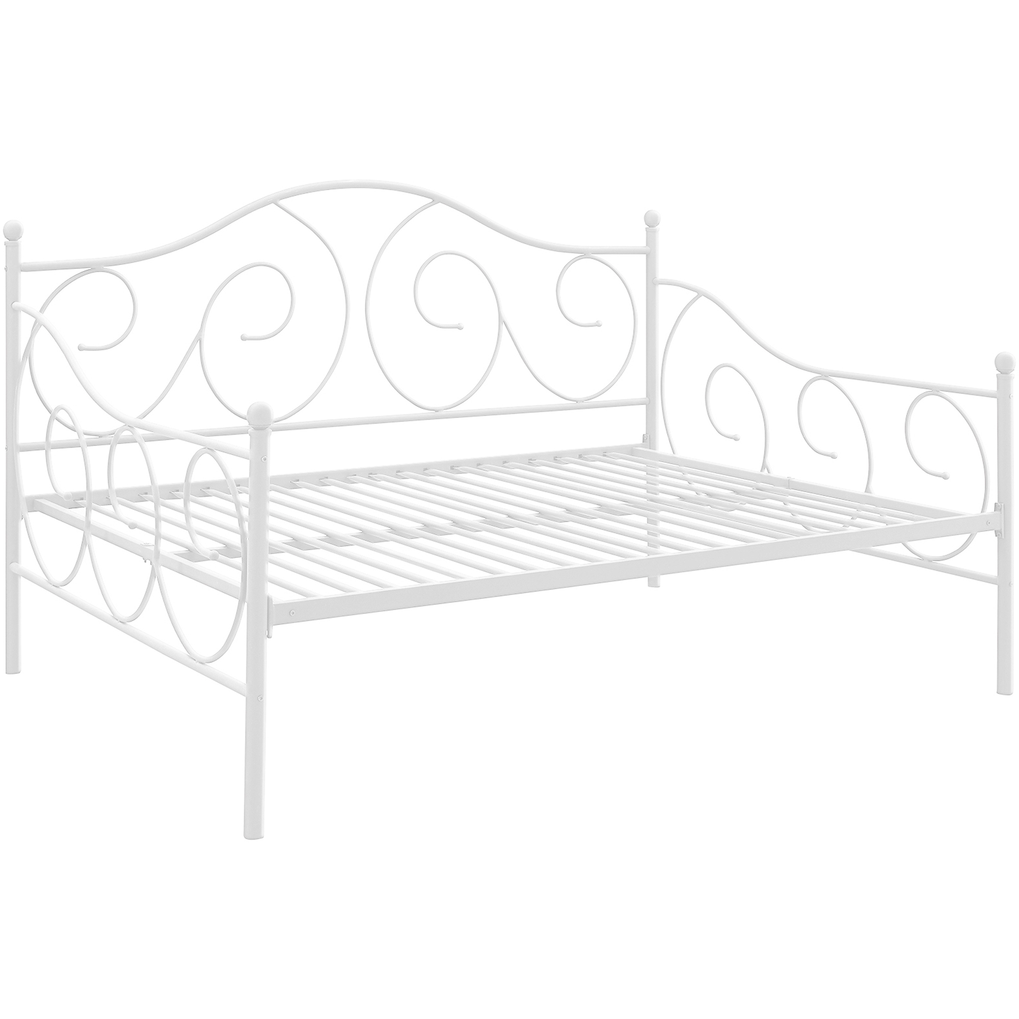 White metal daybed with floral finials - White Metal Daybed With Floral Finials