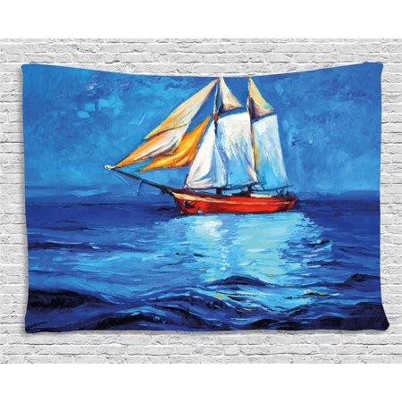 Nautical Tapestry, Oil Painting Style Sailing Ship on Horizon Impressionist Art Image Print, Wall Hanging for Bedroom Living Room Dorm Decor, 60W X 40L Inches, Navy Blue and Blue, by Ambesonne