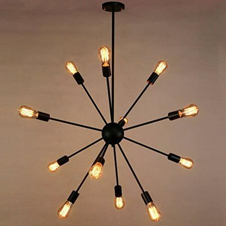 Sputnik Chandelier, Naturous 12 Lights Pendant Lighting, Painted Black Modern Sputnik Light, Vintage Ceiling Light Fixture, UL Listed ()